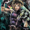 This is a Kolabs Studios artwork by J.P. Perez and Barrett Biggers of a painting portrait of Cloud Strife inspired by the Final Fantasy VII game.