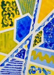 geometric abstract shapes curly cues waves contrasts contrasting straight lines wavy brush strokes complementary ultramarine blue cadmium yellow impasto contemporary painting handpainted handmade acrylic brushstrokes modern