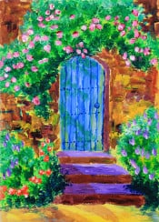 blue door english garden secret old wooden stairs arched doorway romantic mysterious climbing roses bush vibrant vivid pale pink pastel green outdoors nostalgic brown wall gardening classic beautiful spring flowers brushstrokes bushes decorative plants bright happy exterior painting acrylic creative