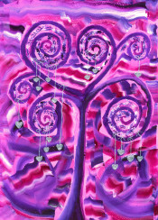 purple tree silver hearts little tiny silvery glitter glittery heartshaped branches violet red pink white valentine love wedding sweetheart handpainted acrylic painting colorful vibrant creative illustration conceptual curly winding swirling twirling heartful loving