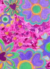 hearts heartshaped valentine florals flowers bouquet illustration pastel amethyst violet jade green teal saffron yellow rose pink purple lavender magenta blooms metallic gold silver glittery nursery pretty cute girly acrylic painting handpainted handmade creative colorful sweet vibrant