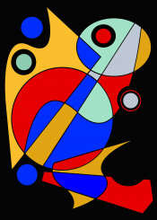 abstract colorful red blue yellow black gray geometric shapes