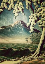 blue snow trees mountain fuji japan japanese ocean lakes waves moon full forest