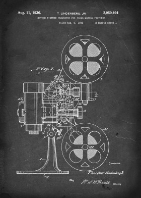 vintage patent illustration projector reel to