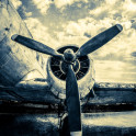 Douglas DC-3 Dakota. Just Landed. The legendary aircraft is also known as Dakota and C-47 Skytrain. Textured, stylized photography. The history of aviation.