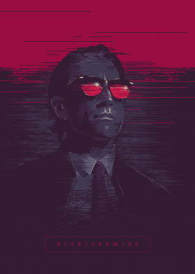 nightcrawler movie film jake gillenhal blue red pink magenta poster alternative illustration man thriller