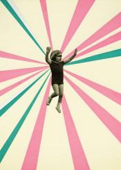 collage people child girl kid retro stripes pink teal sunburst white black abstract vintage playful