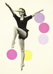 dance vintage people portrait ballet ballerina female figure black yellow lilac pink collage woman