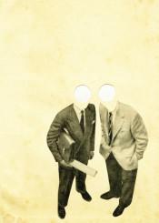 people abstract surreal minimalist vintage white black grey gentleman portrait