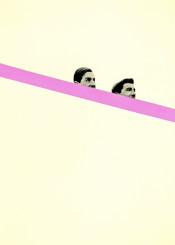 people men man face minimalist simple stripe pink black grey sardines playful game humour funny vintage