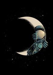astronaut moon space optical illusion crescent