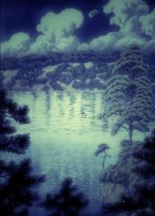 moonlight blue nature landscape lake trees hills clouds