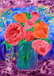 roses english red pink orange flowers floral bouquet mason jar yellow fennel green leaves aromatic herb perennial fresh nature natural beautiful painting botanical handpainted colorful acrylic canvas handmade vibrant artistic impressionism impressionist texture brushstrokes bright impasto liquid decorative creative