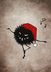 character creature bug bugs characters creatures illustration dark christmas xmas holiday holidays vintage texture grunge funny cute dance sing