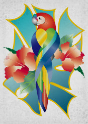 parrot pretty orange green blue turquoise tropical flowers floral botanical nature natural bird animal wings fly tropics summer dark leaves teal yellow gold abstract frame feather lush florida gradients gradation colorful psychedelic kaleidoscope rainbow diagonal stripes ornate brocade ornamental decorative