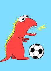 dinosaur dinosaurs kids soccer football sports cute vector illustration cartoon funny