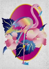 flamingo pretty pink tropical hibiscus flowers floral botanical nature natural bird animal wings fly tropics summer dark blue leaves fuchsia yellow oval frame feather lush florida gradients gradation colorful psychedelic kaleidoscope rainbow diagonal stripes ornate brocade ornament decorative ornamental
