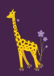 giraffe giraffes purple cute girly cartoon animal animals flower flowers smile smiling skating skate skates