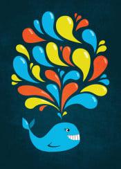 whale whales ocean sea marine mammal animal animals cute colorful splash swirls smile happy