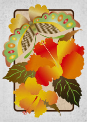 butterfly insect earth colors hibiscus autumn fall flowers floral botanical nature animal colorful green brown yellow orange creature wings winged gradation gradients diagonal stripes ornate ornamental decorative pretty lovely girly sweet feminine vintage brocade