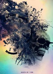 skull death by time clock fish birds abstarct splatter grunge cool black dark