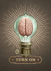 collage vintage pop surrealism retro steam punk humor sarcasm social brain light bulb think