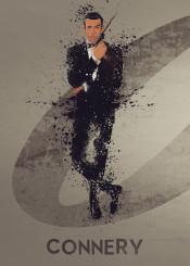 james bond 007 sean connery sky film tv splatter art work