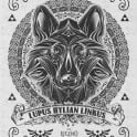 My vintage illustration of the wolf link done in a vintage woodcut linocut style mixed with Victorian accents inspired by Legend of Zelda gaming series.