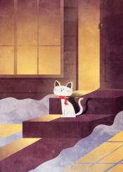 vector art illustration digital cute cat winter snow cabin