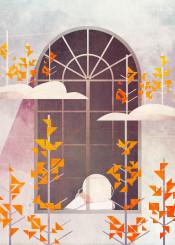 vector illustration art nature pine tree girl window tower digital cloud fantasy artwork