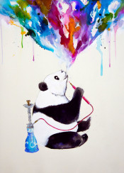 shisha vape panda color watercolor chill