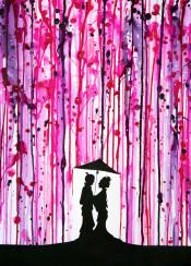 love blossoms japan ink rain umbrella romance kimono