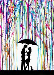 rain silhouette umbrella dripping love family romance ink