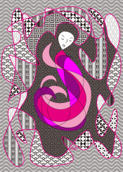 woman pink hair hidden passion digital art abstract vector illustration line drawing pattern black white fuchsia hot ethnic greek classical japanese amaranth deep magenta stylistic contemplative sleeping figure girl lady female closed eyes thought thinking portrait geometric