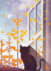 cat cute autumn seaon seasonal leaf pine tree moon sky cloud holiday vector art artwork digital
