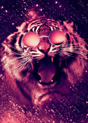 tiger beautiful wild animals nature lovely sunglasses sweet glasses colorful colors art swag big cat roar roaring abstract space galaxy