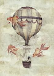 vintage retro hotairballoon balloon goldfish fish fisherman old goldenratio goldfishes animal gentleman