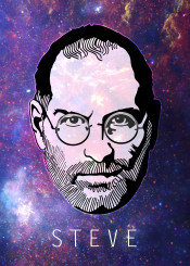 steve jobs stevejobs mac macintosh stars portrait illustration galaxy space