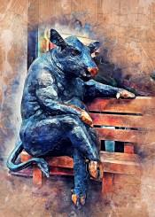 taurus animal animals wild watercolor painting