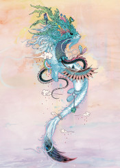 stoat ermine weasel dragon magical psychedelic colorful colourful nature organic journeying spirits rose quartz surreal mythical creature