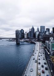 nyc newyork blue view river skyscraper manhattan fog cold