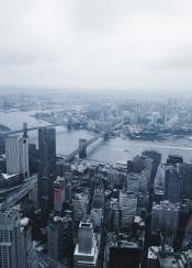 nyc newyork manhattan fog foggy morning view blue skyscrapper urban city clouds