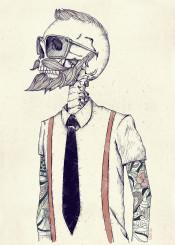 skull skeleton hipster retro gentleman vintage beard
