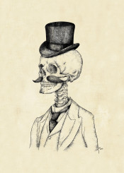 skull skeleton old retro vintage gentleman