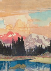 mountains sky clouds sunset lake trees forest cold snow blue pink white green