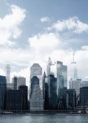 nyc newyork manhattan skyscrapper clouds doubleexposure urban city buildings