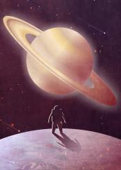 art artwork vector digital planet saturn moon enceladus stars astronaut science