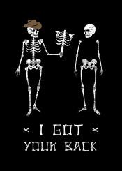 funny joke skeleton skull pun text clever black cowboys western dead bones
