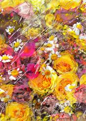 flower flowers yellow roses rose botanical flora art panting