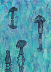 rain umbrella weather raining water drops people painting abstract